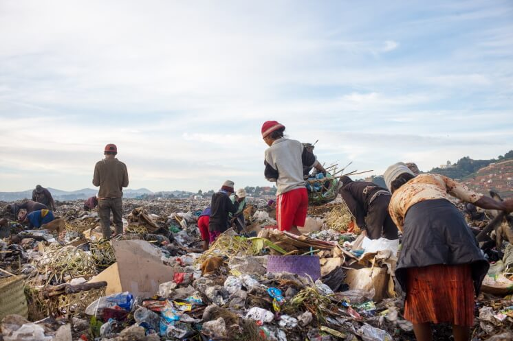 people searching in a landfill in Madagascar