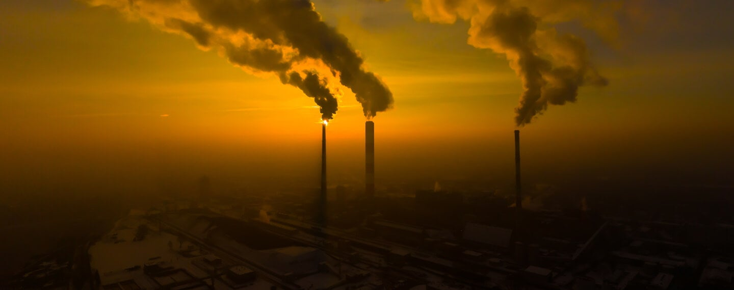 air pollution being released from factories