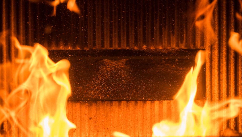 an incinerator fire