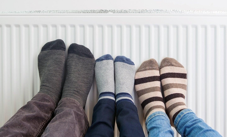 feet on warm radiator