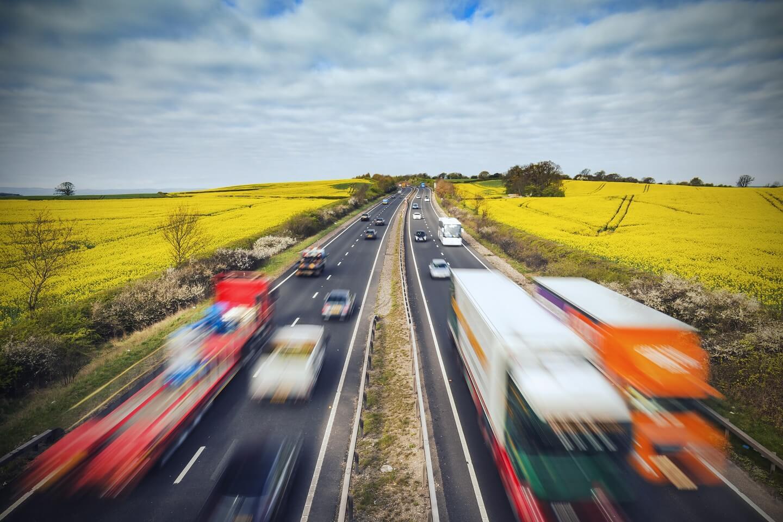 Cars on British motorway