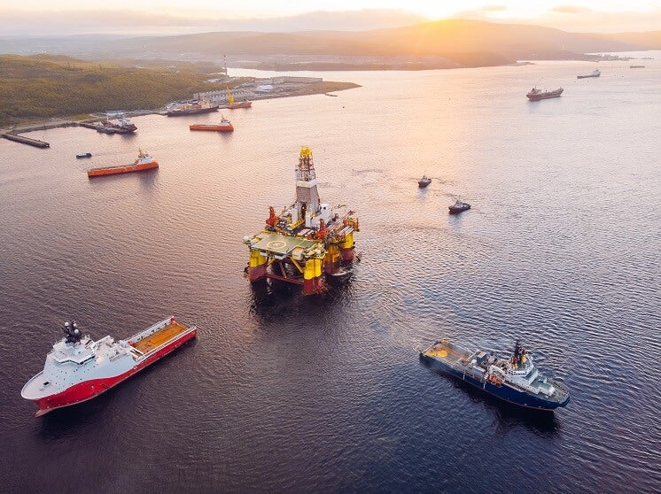 Ships and oil rig in Scotland