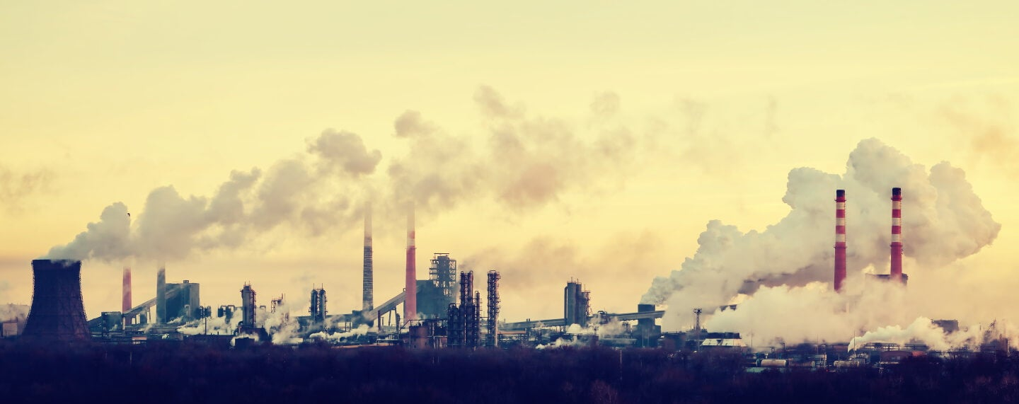 Industrial Landscape with Factory, under a yellow sky