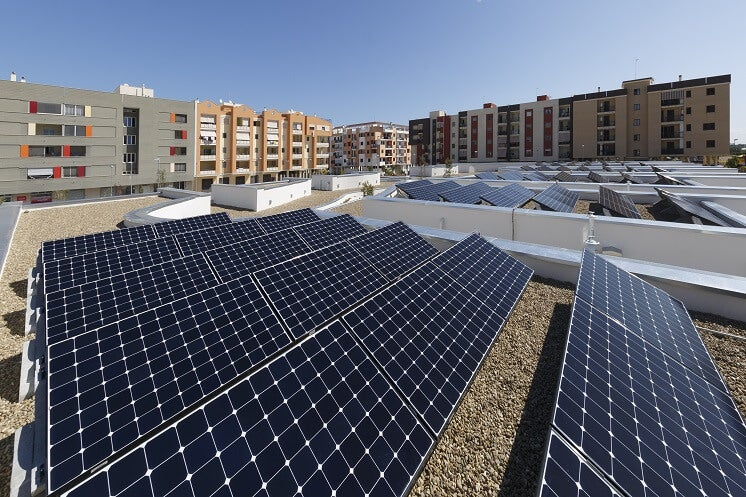 Rows of solar panels on flat roof