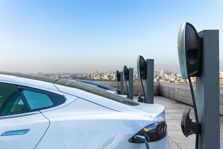 electric car charging on a roof