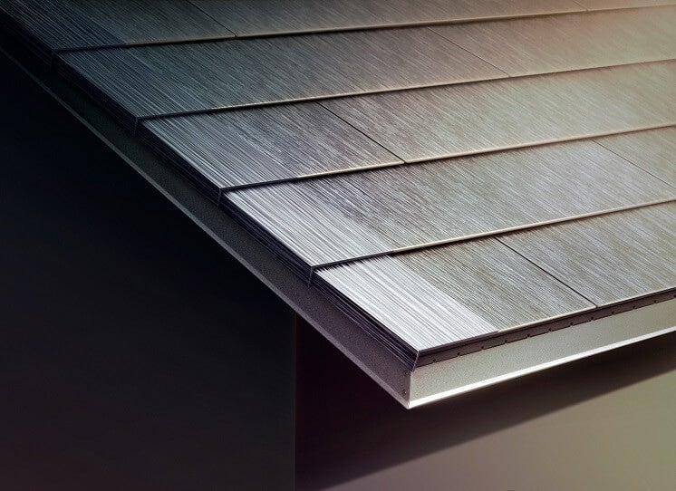 Close up of Tesla roof tiles