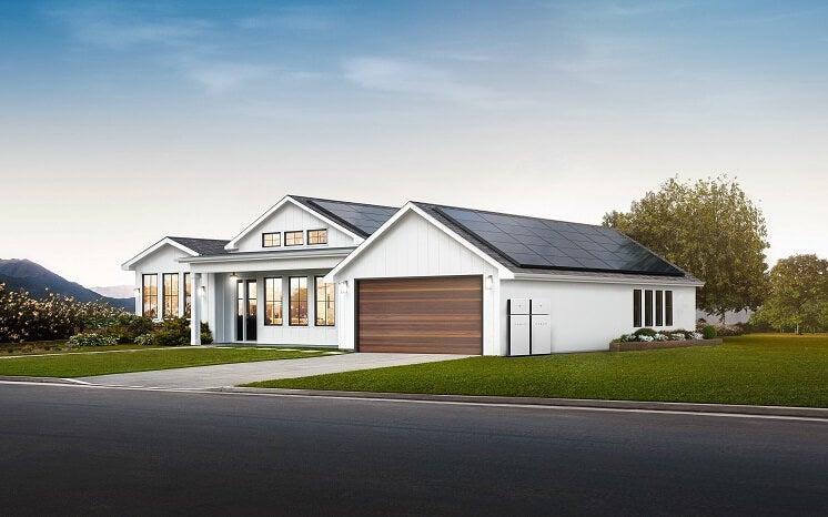 Tesla solar panels on a house