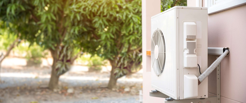 air source heat pump on an external wall