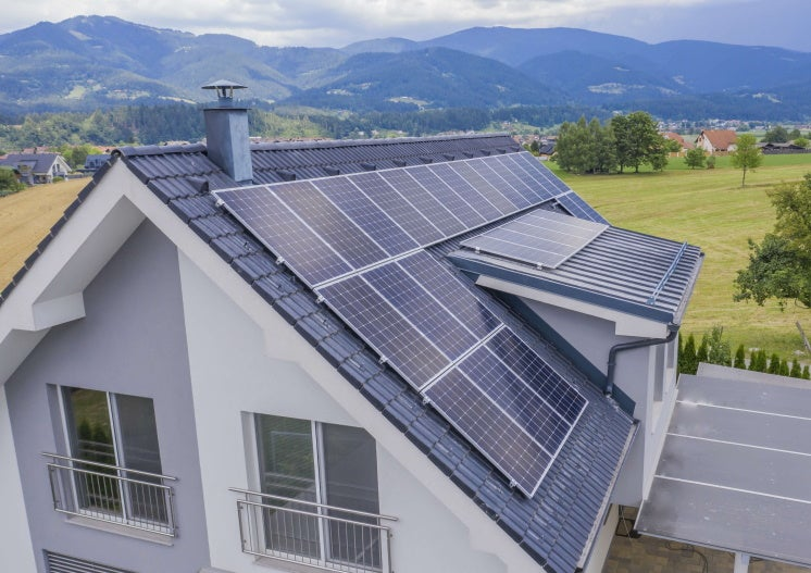solar panels on a house's roof